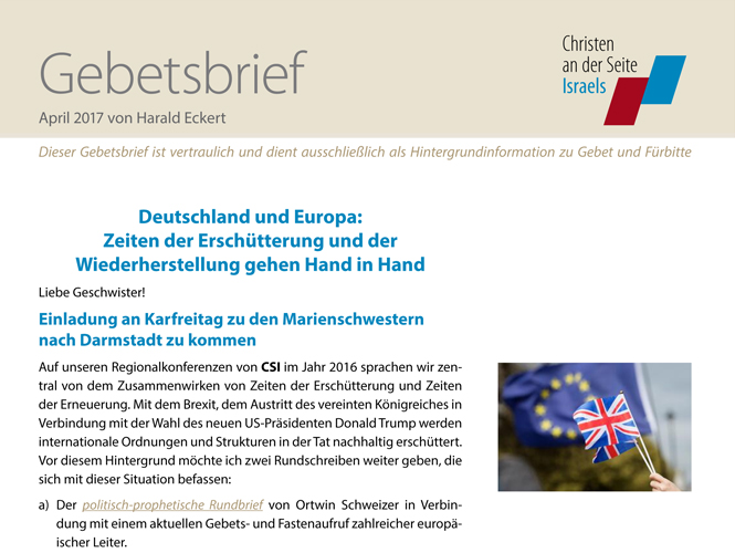 Gebetsbrief – April 2017